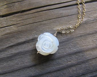 Mother of Pearl Rose Necklace in Sterling Silver or Gold Fill