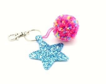 Blue Star Glitter Pom Pom Keychain Keyring