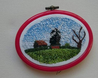 Rolvenden windmill, Kent. Hoop framed embroidery