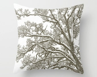 Tree Pillow Cover, Foggy Tree, Winter Pillow Cover, Snow Home Decor, Photo Pillow Cover,