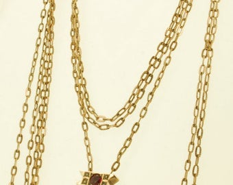 """26"""" vintage yellow gold (filled) fancy-link ladies slide chain necklace with a rectangular yellow gold (filled), garnet, and pearl slide"""
