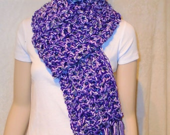 Purple Crochet Scarf with fringes, Fringed Scarf, Purple Scarf, Oversized Scarf, Purple fringed Scarf,  Gray Crochet Scarf, Pink Gray yarn