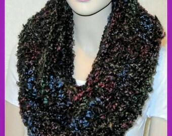 Black Crochet Scarf, Crochet Infinity Scarf, Black Scarf, Blue Crochet Scarf, Chunky Oversized Infinity Scarf, Black Scarf, Red Scarf