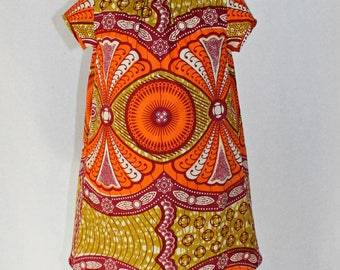 African Print Girls dress in orange and lime green