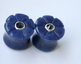 13mm Sodalite and Sapphire Inlay Plugs
