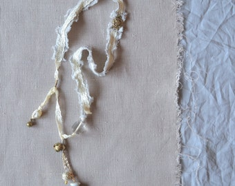 mixed media boho white and gold wedding necklace - white shabby lace boho wedding necklace - long white lace statement bohemian necklace