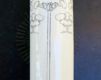 1924 Art Deco Black and White Tree Print Nouveau Arts & Crafts Bavaria Porcelain Vase