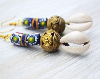 African  Earrings, Krobo Bead Earrings, Brass Earrings, Afrocentric Jewelry, Cowrie Shell Earrings
