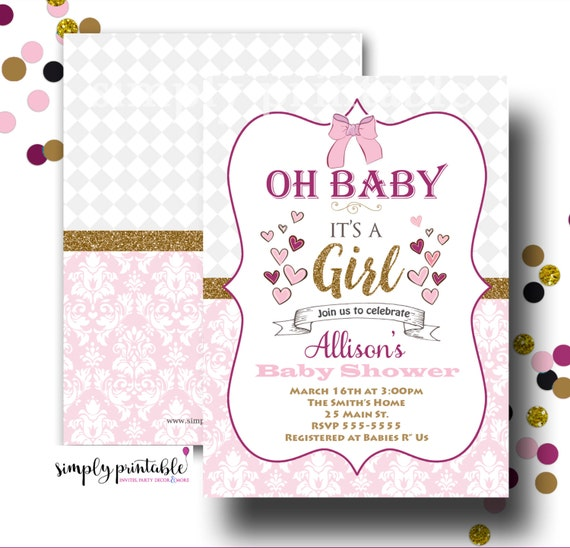 Girl Baby Shower Invitation, Oh Baby, Pink and Gold Invite
