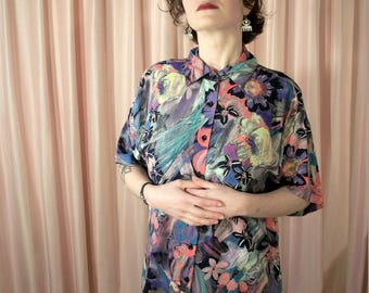 Black and Pastel Pink 80s Brushstroke Button Down Shirt Blouse