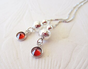 Stering Threaders-Red Cubic Zirconia Drops-Hammered Silver