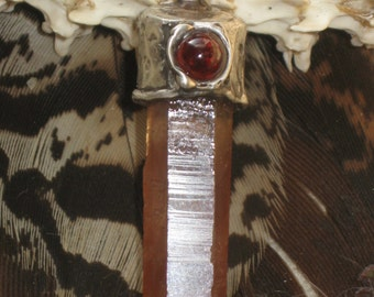 Red /Orange Quartz and Red Garnet  Sterling Silver Pendant. Quartz Charm.Garnet Charm.Indian Style Jewelry.Quartz Pendants