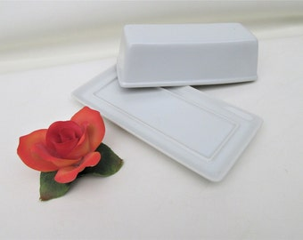 Vintage Butter Dish | Porcelain Butter Keeper | Large Butter Holder | Butter Serving Dish