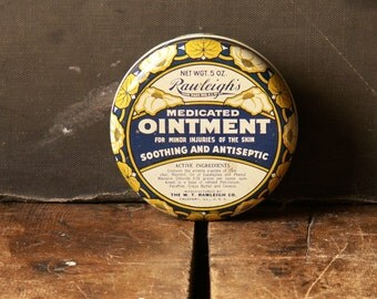 Vintage Rawleigh's Medicated Ointment Tin with Floral Design