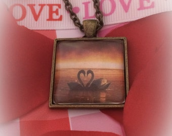 Swans- Heart Custom Photo Pendant