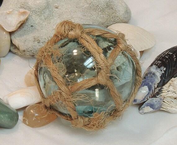 Vintage Japanese GLASS FISHING FLOAT Full Net, Makers Mark & Pale Aqua Blue (#46)