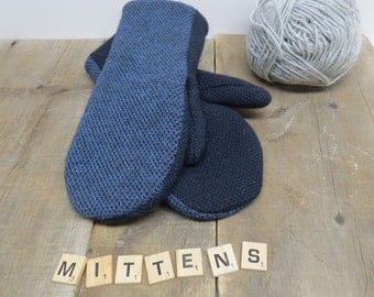 Recycled wool sweater mittens.  Two tone blue