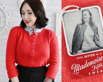 Vintage 1950s NOS Red Long-Sleeve Cardigan Wool Sweater by Mademoiselle Fifth Avenue Size XS or Small