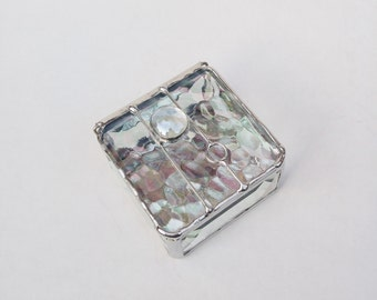 Clear iridescent stained glass beveled box 2 x 2 ring jewelry keepsake READY TO SHIP