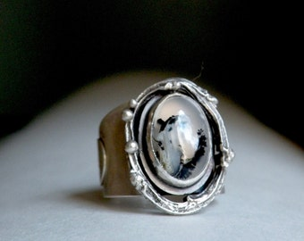 Sterling and Dendritic Opal Ring - Winterscape