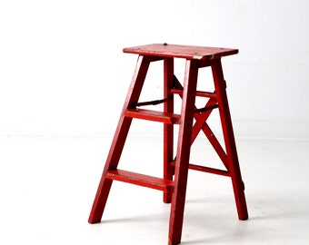 red step ladder, vintage wooden step ladder, painted wood step stool