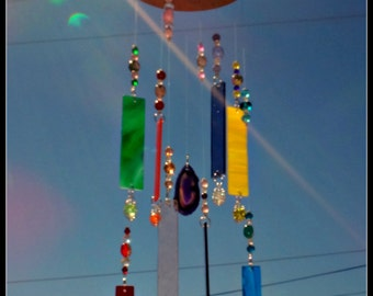Stained glass wind chime,  glass suncatcher,  mobile,  hanging chime,  beaded chime,  colorful glass,  silver chains, ceramic owls, agate