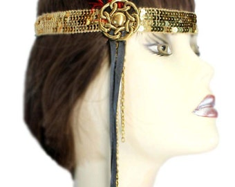Flapper Headband Golden Gatsby Red Gold Roaring 20's Feathered Fascinator Showgirl