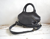 Private Listing for Dorothy - Black Top Handled Pebbled Leather Slouchy Purse with Anthracite Silver Shearling.