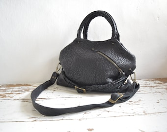 Black Top Handled Pebbled Leather Slouchy Purse with Straps and Front Pocket. Other colours available. Made to Order