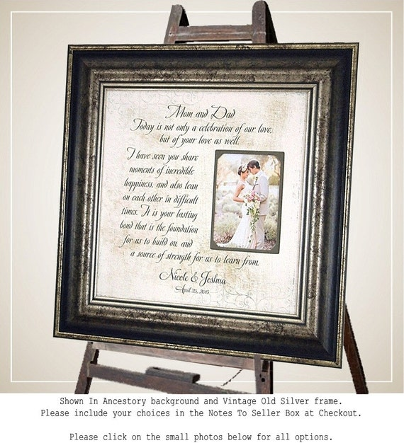 Wedding Gift to Parents Mother Father, Mom Dad Celebration Of Love quote Personalized Picture Frame wedding sign, 16 X 16