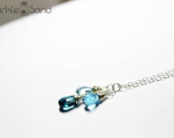 London blue topaz necklace, gemstone necklaces, genuine topaz gem, December birthstone jewelry, 925 sterling silver, birthday gift idea