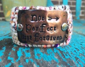 Forgiven Hand Stamped Christian Cuff Bracelet, Custom Knit Scripture Bracelet, Wrist Tattoo Cover