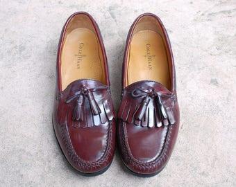 Vintage Mens 10.5d Cole Haan Slip on Tassel Loafers Fringe Loafer Oxfords Brogues Wingtips Leather Burgundy Maroon
