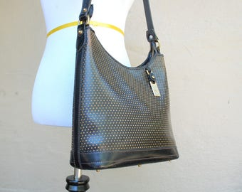 Vintage Dooney and Bourke Black Tan Leather Cabriolet Perforated Purse Shoulder Bag Tote Bag Handbag