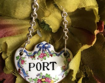Antique Port Decanter Tag Crown Staffordshire Fine Bone China T. Goode England Blue Ribbon Liquor Label ~ #F1148