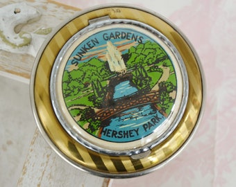 Vintage Compact with Image of Sunken Gardens in Hershey Park with Striped Golden Metal