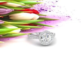 Natural White Topaz Diamond Halo Engagement Ring ,Diamond Wedding Ring  Floral Ring In 14k White Gold, 7mm Round Gem1456