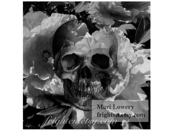 Skull Art Print, Halloween Decor, Black and White, Skull and Flowers, Creepy Wall Art, Dark Floral