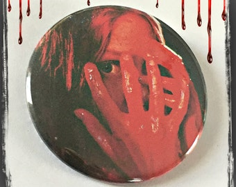 """Carrie White, 1976 - Large 2 1/4"""" Pin Back Button"""