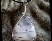 Delightful Merlinite Dendritic Agate & Sterling Silver Pendant Necklace.  A Winter Wonderland...