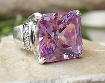 Amethyst Ring, Purple Amethyst Ring, 925 Sterling Silver Ring, Square Stone Ring, February Birthstone, Purple Slim Zirconia ring for woman
