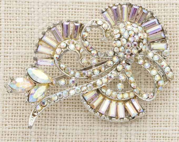 Rhinestone Brooch Vintage Abstract AB Iridescent Silver Sparkly Broach Costume Jewelry | Vtg Pin 16C