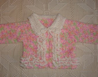 3-6 Month Crochet Pink/Multi Pastel Sweater with White Ruffles and Collar