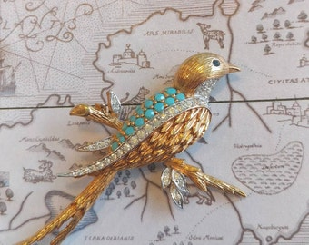 Panetta jewelry, Panetta brooch, robin brooch, bird pin, wedding jewelry, bridal jewelry, something blue, turquoise bird brooch, bird brooch