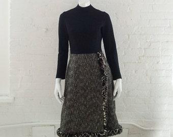 Black Wool Day Dress 60s Vintage 1960s Suzy Perette Wool Cream Brown Tweed Wrap Fringe Skirt Small Medium Winter Black Turtleneck Dress 50s