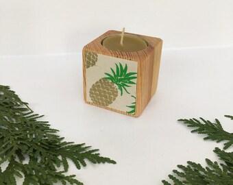 Pineapple Votive, Stocking Stuffer, Reclaimed Wood, Housewarming Gift