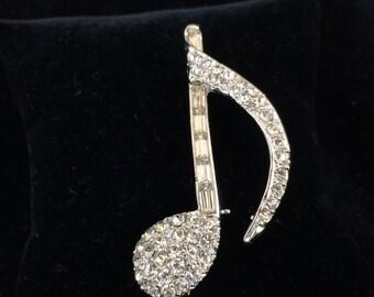 Vintage Rhinestone Music Note Brooch