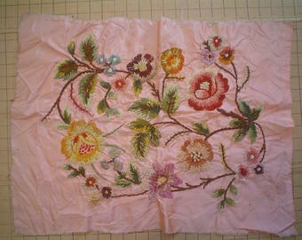 Vintage Embroidered Panel Peachy Pink with Chenille Flowers for Cushion Cover 1930s Crewel Work