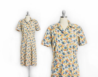 Vintage 30s Dress - Floral Cotton Shirtwaist Day Dress 1930s - Large L
