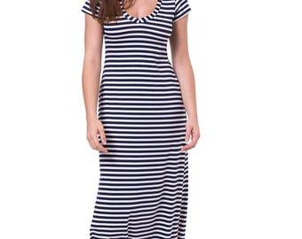 Blue white Stripe maxi dress Stripe casual women dress Stripe maxi summer dress Stripe long dress